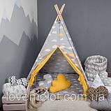 Детская палатка с окном + коврик + 2 подушки, вигвам для детей, шалаш для деток, палатка для детей, фото 3