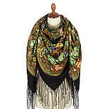 Ненаглядная 1025-18, павлопосадский платок (шаль) из уплотненной шерсти с шелковой вязанной бахромой, фото 4