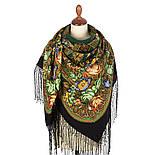 Ненаглядная 1025-18, павлопосадский платок (шаль) из уплотненной шерсти с шелковой вязанной бахромой, фото 3