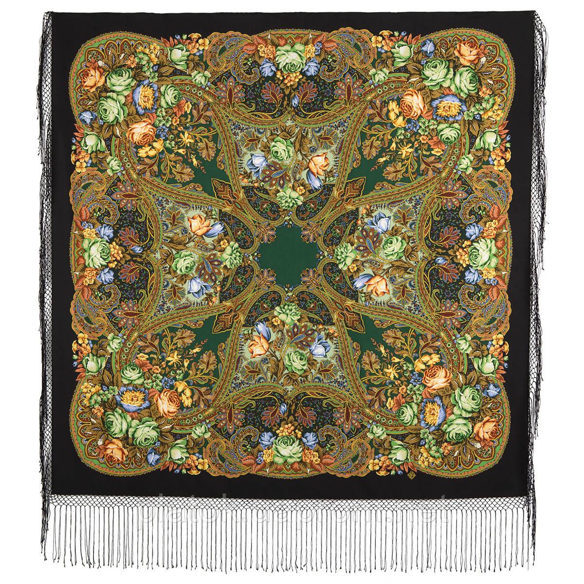 Ненаглядная 1025-18, павлопосадский платок (шаль) из уплотненной шерсти с шелковой вязанной бахромой