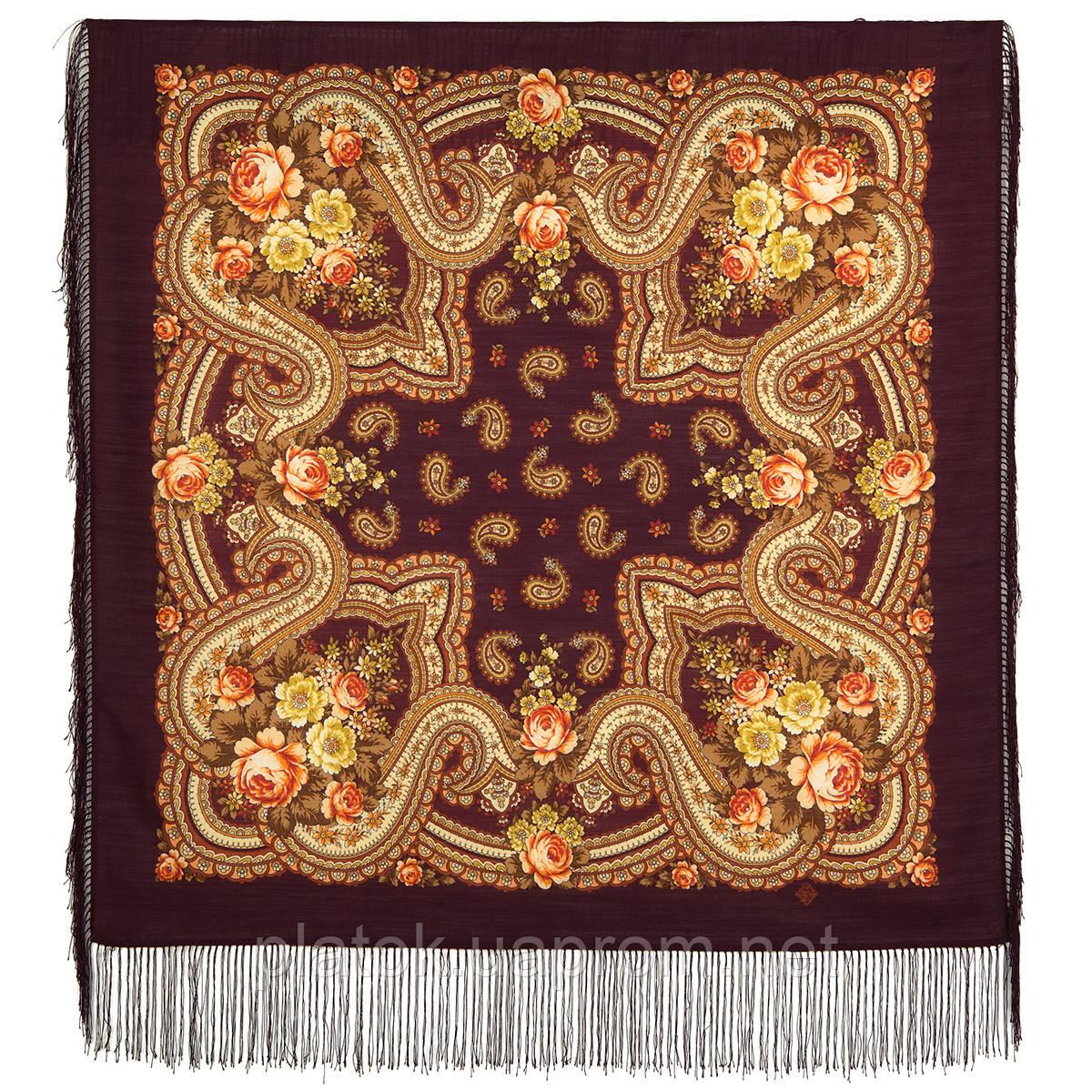 На крыльях памяти 1843-17, павлопосадский платок шерстяной  с шелковой бахромой