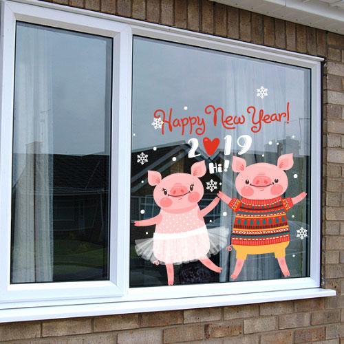Интерьерная новогодняя наклейка Символ 2019 (Год свиньи, кабана)