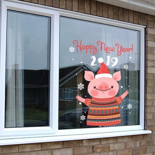 Интерьерная новогодняя наклейка Свинка 2019 (Год свиньи, кабана, новый год)