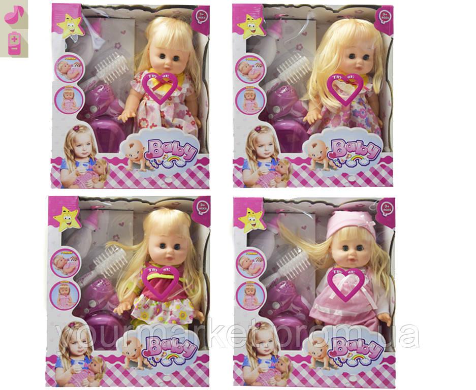 Кукла функц 8299A  4 вида, муз, пьет/пис, бут,горшок,фен, расческа, в