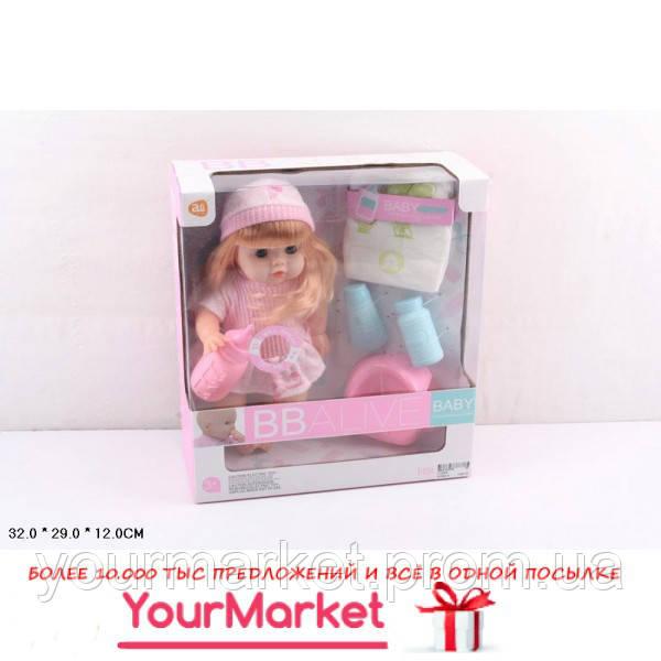 Кукла муз YL228-8  12 звуков, горшок, бутылка, подгузник,аксес,в кор.3
