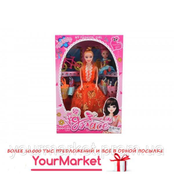 Кукла 8524B  6 видов, с куколкой, велосипед, набор платьев, в кор. 32*