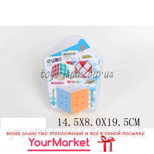 Кубик Рубика 766 (1559556)  +маленьк.кубик+змейка, в слюде 14,5*8*19,5