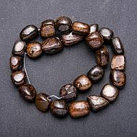 Бусины из натурального камня Бронзит крупная галтовка d-10х14мм L-38см
