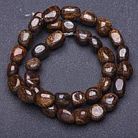 Бусины натуральный камень Петерсит на нитке галтовка d- 8мм L-37 см