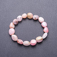 Браслет из натурального камня Розовый Опал галтовка d-10мм(+-) обхват 18 см на резинке