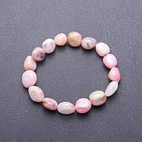 Браслет з натурального каменю Рожевий Опал галтовка d-10мм(+-) обхват 18 см на гумці