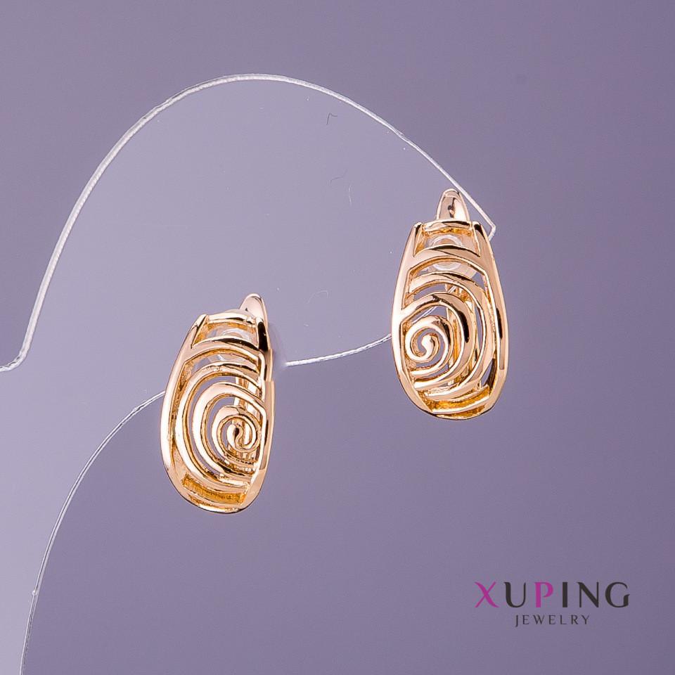 Серьги Xuping спирали d-9мм L-15мм цвет золото