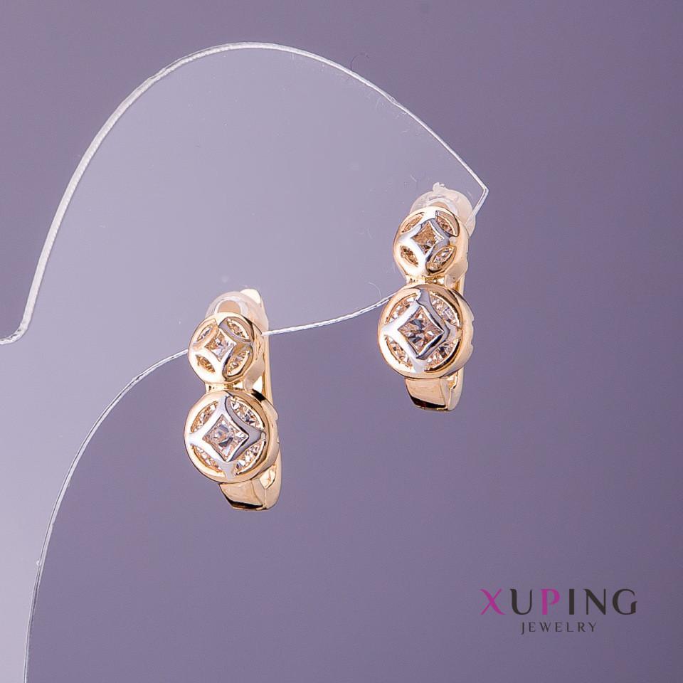 Серьги Xuping d-6мм 8мм L-11мм цвет золото серебро