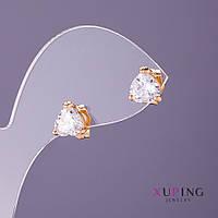 Серьги Xuping гвоздики Сердечки белый камень d-5мм L-6мм цвет золото