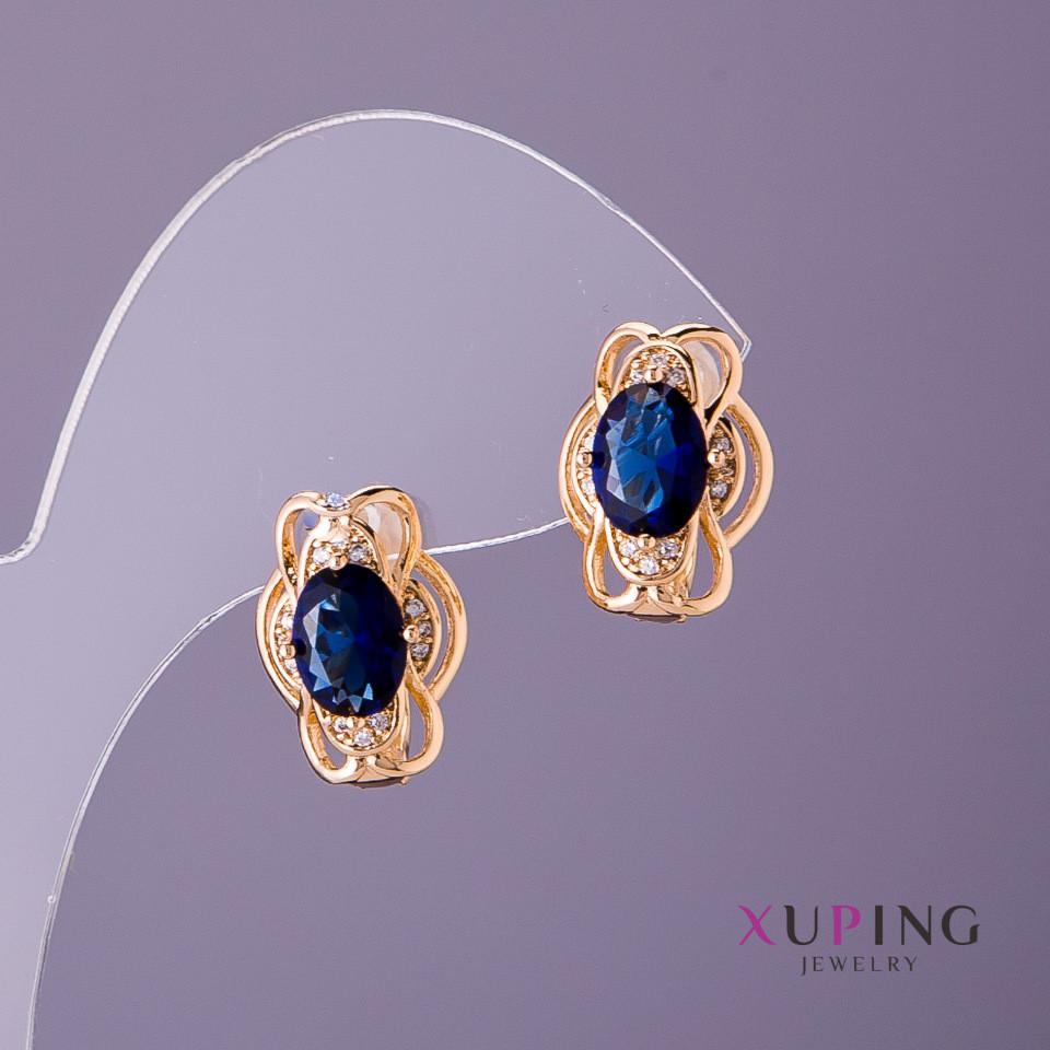 Серьги Xuping синие камни d-11мм L-15мм цвет золото