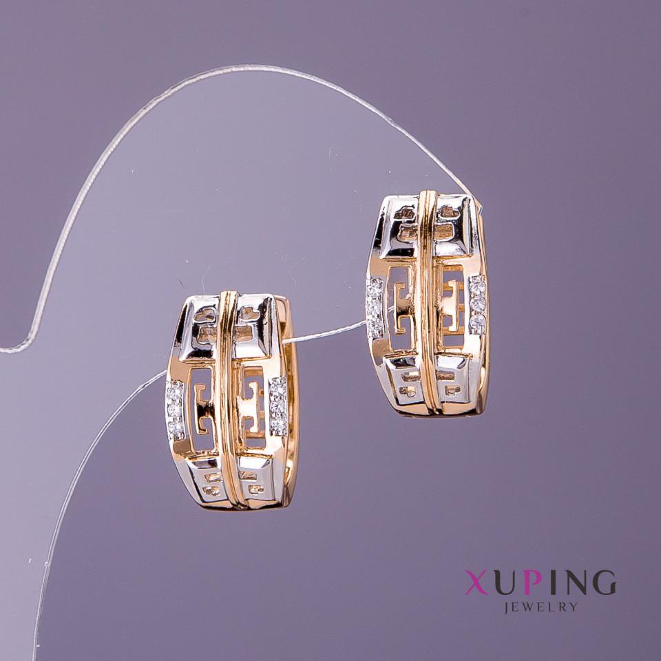 Серьги Xuping греческий узор d-10мм L-19мм цвет золото серебро