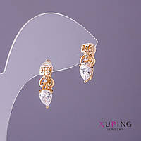 Серьги Xuping белые камни d-6мм L-16мм цвет золото