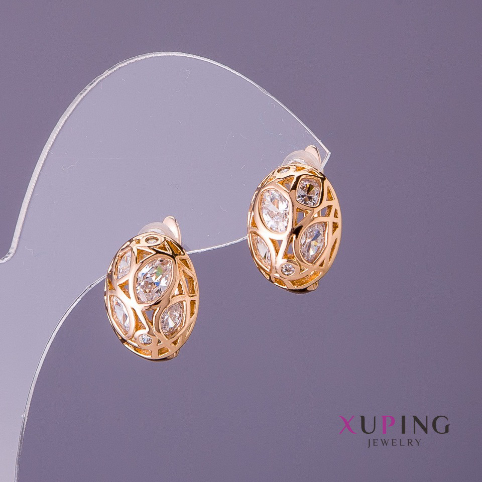 Серьги Xuping белые камни d-11мм L-14мм цвет золото