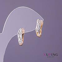 Серьги Xuping d-4мм L-15мм цвет золото серебро стразы белые