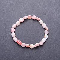 Браслет из натурального камня Розовый Опал галтовка d-7мм(+-) обхват 18 см на резинке