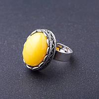 """Кольцо Янтарь (имитация) оправа """"зубчик"""" """"М"""" овальный камень 2,1*1,6 см без р-р"""