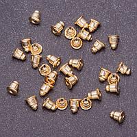 Фурнитура Заглушки для сережек пара d-5мм L -6мм цвет металла золото фас.80шт