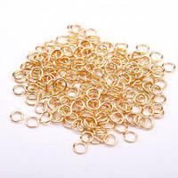 Фурнитура соединительное кольцо d-4мм золотистый металл 10грамм