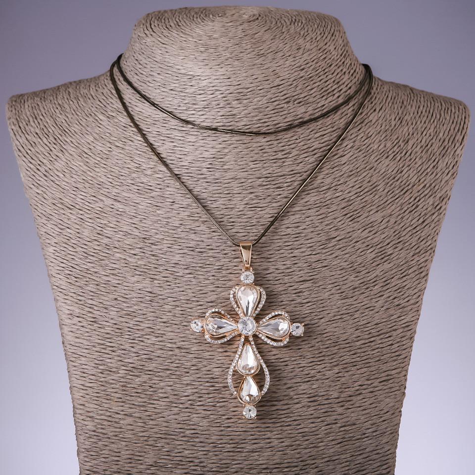 """Подвеска """"Крест"""" с белыми кристаллами на длинной цепочке металл """"черное золото"""" L-72см"""