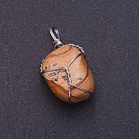 Кулон из натурального камня Яшма пейзажная в серебристой оплетке 2,8х2см (+-)