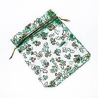 """Мешочек подарочный """"Сердца и розы"""" зеленая органза 11х10см"""