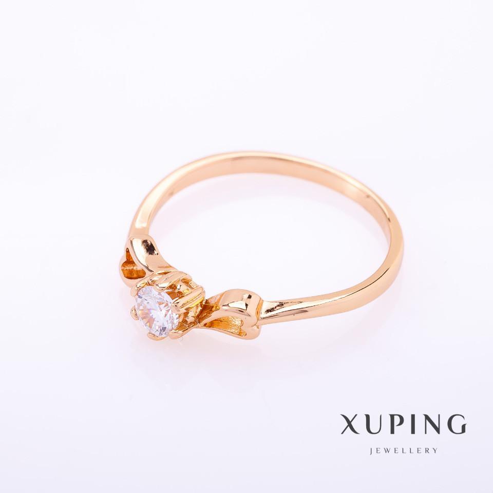 "Кольцо Xuping цвет металла ""золото"" белый камень 5мм р-р 17-20"