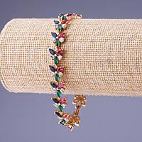 Браслет Xuping с цветными кристаллами L-20см b-1см цвет металла золото