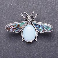 """Брошка """"Метелик"""" з Місячним каменем 5,5х3,5см"""