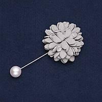 """Брошь-булавка с цветком из ткани """"Хризантема"""" d-4см L-9см"""