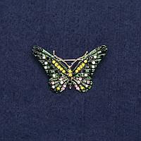 Брошь Бабочка зеленая 2,5х4см желтый металл
