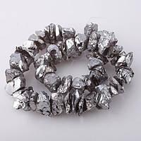 Бусины натуральный камень на нитке Пирит (качественная имитация стекло) кусковой 10*15мм (+-5мм) L-40см