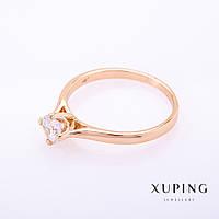 "Кольцо Xuping цвет металла ""золото"" белый камень 6мм р-р 18"