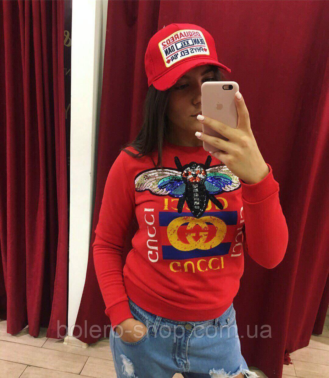 Кофта свитшот женская Gucci красная