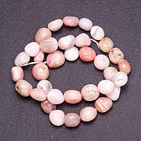 Намистини з натурального каменю Опал рожевий галтовка d-10мм(+-) нитка L-39див