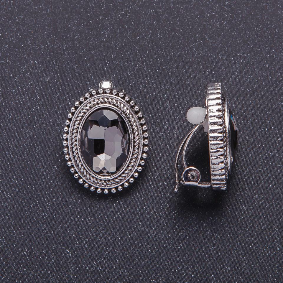 "Клипсы с серыми кристаллами оправа ""жгутик"" d-20х18мм"