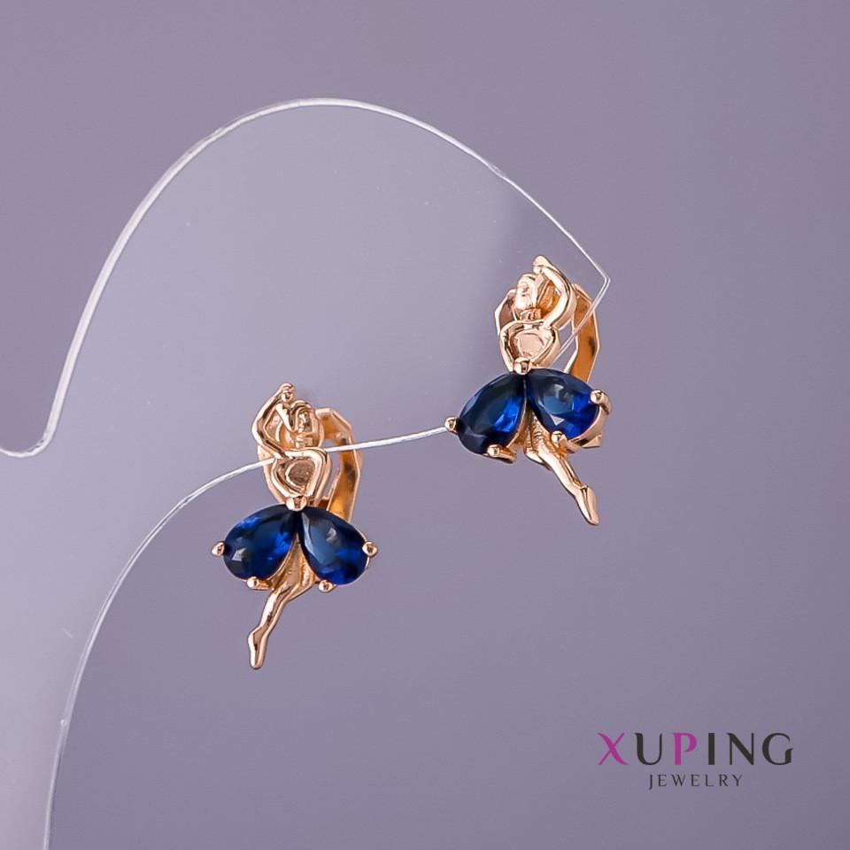 Серьги Xuping Балерина синие камни d-11мм L-19мм цвет золото
