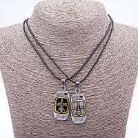 "Парный кулон дружбы Love на шнуре L-45см цвет металла ""серебро и бронза"""