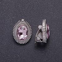"""Клипсы с розовыми кристаллами оправа """"жгутик"""" d-20х18мм"""