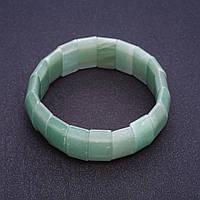 Браслет Нефрит на резинке прямоугольное звено 2,5х1,1см