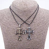 """Парный кулон дружбы Кресты на шнуре L-45см цвет металла """"серебро и бронза"""""""