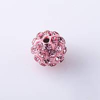 Бусина Шамбала d-10мм Розовая фас.8шт