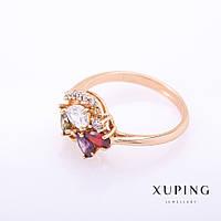"""Кольцо Xuping цвет металла """"золото"""" разноцветные камни 4мм р-р 18-19"""