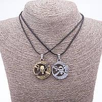 """Парный кулон дружбы Пираты на шнуре L-45см цвет металла """"серебро и бронза"""""""