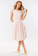 Пудровое платье с угловым рельефом, фото 1
