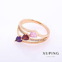 """Кольцо Xuping цвет металла """"золото"""" разноцветные камни 4х5мм р-р16-19"""